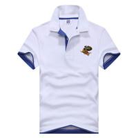 Wholesale Funny Polo Shirt - 2017 new funny Hipster lapel monster dinosaur small picture print shirt short sleeve polo shirt EINAUDI men fashion men design s
