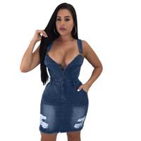 32fad80378c OMILKA 2018 Automne Femmes Sans Manches V Cou Bandage Robe Moulante Sexy Bleu  Denim Jeans Club Partie Poche Mini Robes Femininos