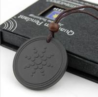 Wholesale scalar energy pendant online - Quantum Pendant Necklace Scalar Energy Pendant with Negative Ion Energy Pendant Black Lava Stone Jewelry Ion Science Bio Pendants by DHL