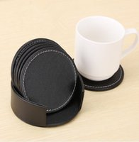 Wholesale leather coasters resale online - 7PCS SET Leather Table Mats For Cup Glass PU Cup Mats Heat resistant Table Cup Coffee Drink Coasters Placemat Kitchen Accessories KKA5603