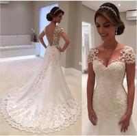 vestido plisado watteau al por mayor-El encaje de lujo agrega tamaño a un vestido de novia de marfil blanco. Talla: 6-8-10-12-14-16.
