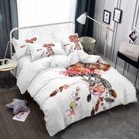 набор постельных принадлежностей оптовых- Home Textile Owl Feather Bedding Set Leaves Duvet Cover Set Pillowcases Twin Full Queen King Comforter Cover Deer