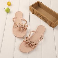 Wholesale Womens Bow Flip Flop Sandals Jelly Thong Flat Sandals Summer Beach Shoes With Rubber Rivets Bowtie Flip Flops