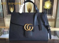 Wholesale pin string - AAAAA Womens 421890 31cm Marmont Top Handle Totes Bag Flap Closure Pin Cotton Linen Lining with Box Dust Bag Free Shipping