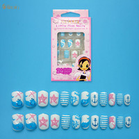 pegar las uñas azules al por mayor-24 Unids / set Blue Starfish Fake Nails Cubierta completa Pre-pegamento Niños Consejos de uñas falsas con Cute Dolphin para herramientas de manicura Ventas calientes