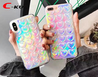 Wholesale bling sticker skin for iphone online – custom Bling Heart Soft TPU Back Case For IPhone X XS Plus I7 S I6 S SE Love Laser Sticker Luxury Glitter Colorful Phone Skin Cover