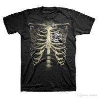 costela do t shirt dos homens venda por atacado-2018 Nova Marca T Shirt Homens Preto Rótulo Da Sociedade Rib Cage T-ShirtCrew Pescoço Regular Tee Camisa Curta Para homens