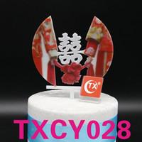 ingrosso decorazioni della torta nuziale cinese-Matrimonio cinese tradizionale matrimonio stampa a colori acrilico cake topper decorazione del partito sposa sposo toppers torta nuziale