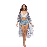 kimono sexy tragen großhandel-Frauen Strand vertuschen Damen Sexy Badeanzug Badeanzug Ups Cape Kaftan Kimono Strick Beach Wear Shirt Boho Tunika Kimono 049