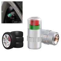 Wholesale nissan tire valve caps resale online - 4PCS Car Styling Car Tyre Tire Pressure Valve Stem Caps bar PSI Sensor Eye Air Alert Tire Pressure Monitoring Tools Kit