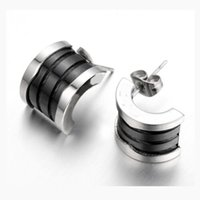 Wholesale cool jewelry brands online - Brand bulgaria fashion stainless steel white and black ceramics silver rose gold stud earrigns for women men lovers jewelry cool earrings