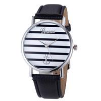 женщины женева оптовых-4Color мода повседневная женская Женева полосатый якорь аналоговые кожа Кварцевые наручные часы relogio feminino