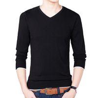 suéter de algodón negro al por mayor-2017 otoño para hombre jerseys suéteres de algodón slim fit con cuello en v suéter jumpers fino hombre prendas de punto negro pull homme m-3xl