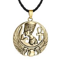 ingrosso gioielleria egiziana-5 pz / lotto egiziana regina egitto nefertiti faraone ankh scarabeo bronzo ciondolo in argento collana per mens gioielli classici maschio colier