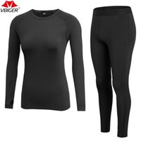 Wholesale fleece lined shirt l - Vbiger Women Long Sleeve T-Shirt and Pants Sports Suit with Fleece Lining Compression Baselayer for Running 2 Pieces
