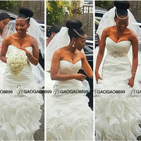 Wholesale Trumpet Clean - Clean and Modern South African Mermaid Wedding Dresses Bridal Gowns Plus Size abiti da sposa with Beaded Belt Ruffles Train Backless Beach
