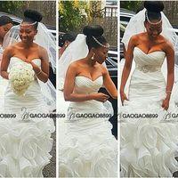 cinto de vestido de casamento sem costas venda por atacado-Limpo e moderno sul africano sereia vestidos de noiva vestidos de noiva plus size abiti da sposa com frisado cinto babados trem backless praia