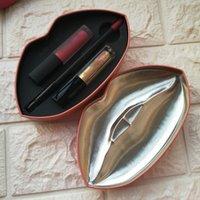 Wholesale Pack Suits - Makeup Lip Gloss Palette Contour Strobe 2pcs Matte Liquid Lip Strobe + 1 Lip Liner Suit With Iron box Packing 5 colors