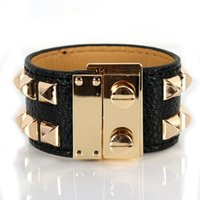Wholesale gothic mens stainless steel bracelets - Gothic Mens Leather Cuff Bracelet with Multi-colors choice M011