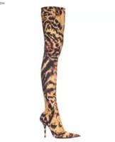 21f464c4c7f1 2018 femmes sexy bottes léopard cuisse bottes hautes talon mince au-dessus  du genou bottes dames chaussures de soirée élastique chaussettes chaussons  ...