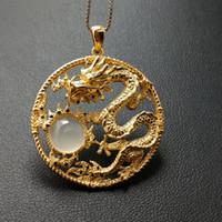 jóias dragão mulheres venda por atacado-FLZB, Fine Jewelry Popular Big Promoção Moda Feminina 925 Sterling Silver 18k Ouro Estilo Chinês Dragão Pingente Sorte Poder