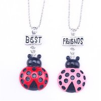 Wholesale beetle pendant - 12pair lot best friends necklace silver tone beautiful beetles animal charm BFF pendant necklace Children's day gift