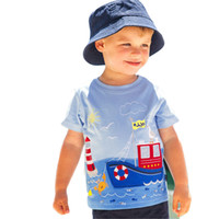 Wholesale new fashion strollers resale online - New boy cotton short sleeved T shirt European and American style round neck stroller printed children s shirt