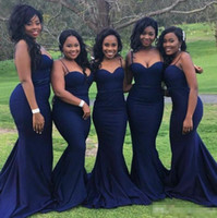 Wholesale dark purple satin girls dress resale online - Sexy Navy Blue Bridesmaid Dresses for Wedding Guest Party Cheap Straps with Sweetheart Neck Plus Size Formal Gowns for African Black Girls