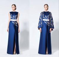 vestidos de novia de la madre de satén azul real al por mayor-Vestidos formales árabes de azul real Vestidos de noche con capa Envoltura Alta Satén dividido Apliques Vestido de fiesta Vestido de fiesta de madre de novia