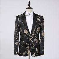chaquetas para hombre al por mayor-Freeship para hombre negro bordado de oro chaqueta / rendimiento de la etapa / traje de estudio / tamaño asia