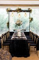 mesa redonda negra al por mayor-Sparkly Black Sequins Table Cloth Tela brillante rectángulo lentejuela mesa redonda Venta caliente