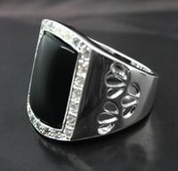 ingrosso anelli in argento 925 nero onice-RARE NATURAL BLACK AGATE / ONYX GEMSTONE RHINESTONE.925 SILVER RING SIZE 7 8 9