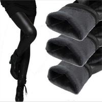 botas de pantalones de cuero negro al por mayor-Espesamiento Botas de cuero negro Leggings Pantalones pitillo Pantalones de mujer cálidos Pantalones de invierno para mujer Alta calidad