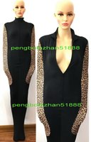 Wholesale sexy leopard halloween costumes resale online - Unisex Mummy Costumes Sexy Body Bags New Black Leopard Pattern Lycra Sleeping Bags Unisex Mummy Suit Costumes With internal Arm Sleeves P302
