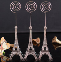 Wholesale wedding message place cards for sale - Group buy Wedding gift cm Paris Eiffel Tower Card Holders Brozen Place Name photo Business Card Holder Clip Message Board Clip