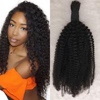Wholesale human hair kinky curly bulk extensions online - Indian Human Hair Extensions Afro Kinky Bulk Pc g pc Hair Crochet Braiding Hair for Black Women FDshine