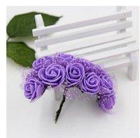 одноцветные розовые розы оптовых-Головка цветка 2.5 см поддельные шелковые один гортензии 11 цветов свадебные розы центральные главная партия декоративные цветы