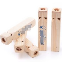 Wholesale flute whistle online - Super Solid Wood Train Flute High Quality Woodiness Whistling Toy Children Informative Music Toys Factory Direct Sale zd X