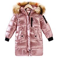 kız giyim toptan satış-Uzun Coats aşağı Çocuklar Dış Giyim için Kız perlit katman ceketler 2018 Çocuk Kış Giyim Kız Coats Sıcak Kürk Yaka Kapşonlu