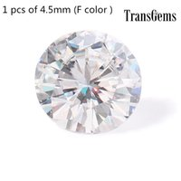 муассанит блестящий оптовых-TransGem 4.5 мм 0.33 ct карат F бесцветный круглый бриллиант вырезать муассанит свободные лаборатории Алмаз драгоценный камень тест как положительный 1 шт.