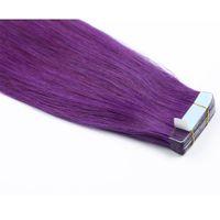 couleur pourpre trame de cheveux achat en gros de-Purple Burmese Hair Doux Soyeux Straight Remy ruban en extensions de cheveux humains 20 pièces par paquet de bande de trame de peau dans les extensions de cheveux