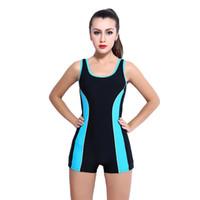 Wholesale women conservative swimwear online - Boyshorts Bodysuit Plus Size Women Racing Copmetition Swimwear Conservative Hot Springs Bathing Suit Swimsuit S xl