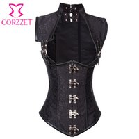 Wholesale Sexy Collared Vest - Black Brocade Collared Top Cupless Sexy Corset Vest Steampunk Corset Underbust Gothic Clothing Corsets and Bustiers Steel Boned