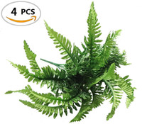 Wholesale flowers ferns - Fake Faux Artificial Boston Ferns Plants Greenery Bushes for Indoor Outside Home Garden Party Decor 4 Bunches 24 Leaves Per Bunch