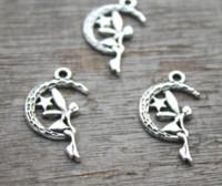 Wholesale antique moon pendant for sale - Group buy 20pcs Moon Angel Charms Antique Tibetan silver Fairy Charm Pendants x25mm