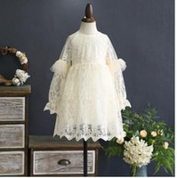 Wholesale Nets Dress New Style - Girls dress 2018 spring new net yarn dress baby embroidery flowers princess dress