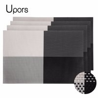 Al por mayor-Upors Marca 4 unids PVC Placemats for Table Set Pad Vintage Plastic Mat Coaster Non-Slip Woven Runner Dining Placemat 30 * 45 CM