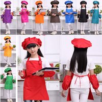 Wholesale cooking apron set resale online - Children Kitchen Waists Kids Aprons With Sleeve Pocket And Chef Hats For Painting Dining Bib Cooking Baking Set HH7