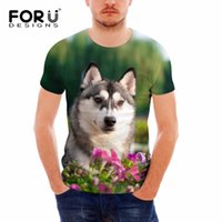 Wholesale Teen Boys T Shirt - FORUDESIGNS Cute 3D Animal Husky Printing Men O Neck T Shirts Casual Summer Short Sleeve Tops Tees for Teens Boys Male t-shirts