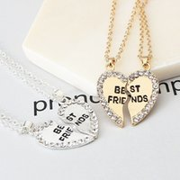 Wholesale crystal cast - heart pendent necklace engraved English letter two pieces zinc casting best friend with crystal rhinestone N17158